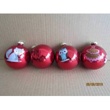 Red Painting Glass Ball with Animal Decal Picture for Christmas